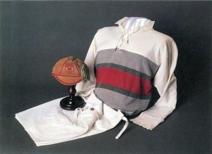1946 rugby jersey and shorts, donated by J.W. Mawson. The rugby colours cap was donated by J.M. Gray